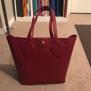 NWOT Red bucket style handbag